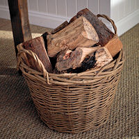 Round Wicker Log Basket - Hessian  Lined