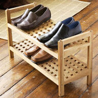 Walnut Wooden Shoe Rack - Stacking