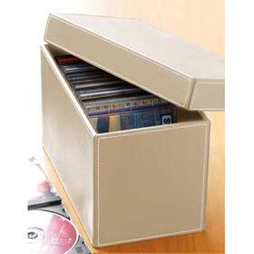 Cream Faux Leather CD Storage Box