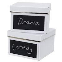 2 x Chalkboard DVD Storage Boxes