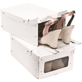 2 x Card Shoe Storage Boxes - White