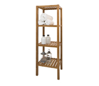 Walnut Bathroom Shelf Unit - 4 Tier