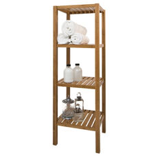 Walnut Bathroom Shelf Unit - 4 Tier
