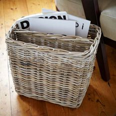 Grey Wicker Magazine Basket
