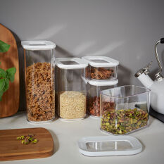 5 x Clear Kitchen Storage Canisters