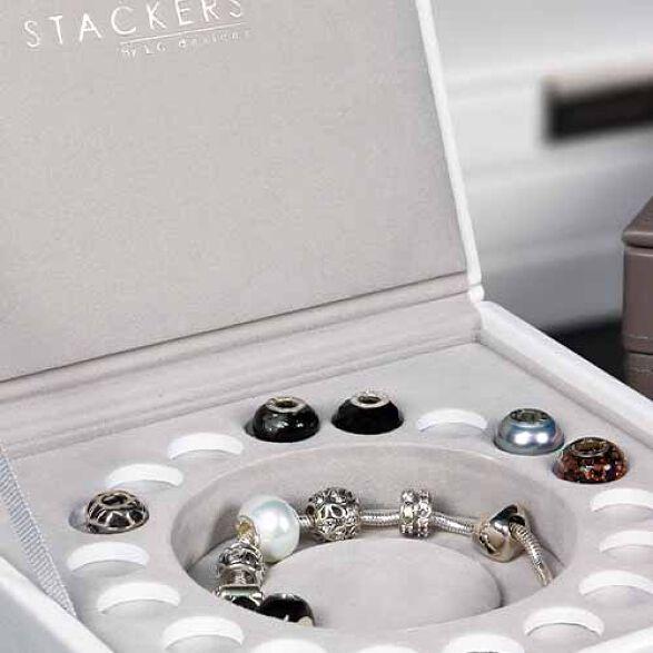 Stackers Lidded Charm Jewellery Storage Box White Store