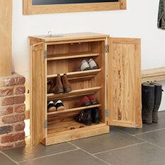 Solid Oak Shoe Storage Cupboard - Mobel