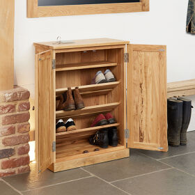 Solid Oak Shoe Storage Cupboard - Mobel