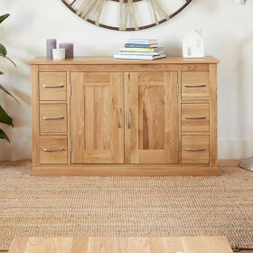 Solid Oak 6 Drawer Side Board - Mobel