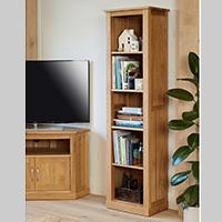 Solid Oak Narrow Bookcase - Mobel