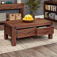 Solid Walnut Coffee Table with Storage - Shiro