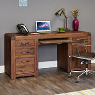 Solid Walnut Twin Pedestal Computer Desk - Shiro