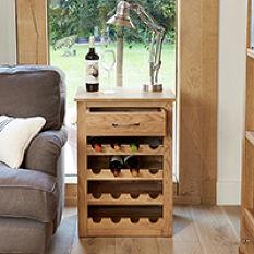 Solid Oak Wine Rack Lamp Table - Mobel