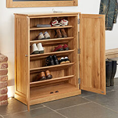 Large Oak Shoe Storage Cupboard - Mobel