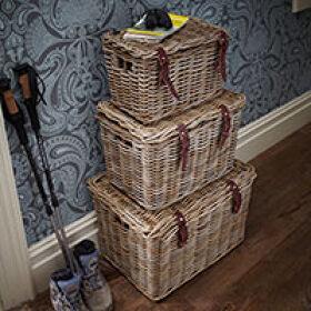 Set of 3 Fisherman's Wicker Baskets