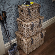 Set of 3 Fisherman's Wicker Baskets