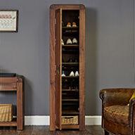 Solid Walnut Tall Shoe Cupboard - Shiro
