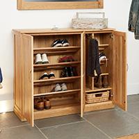 Oak XL Shoe Cupboard - Mobel