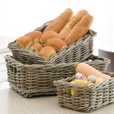 Set of 4 Buff Wicker Pantry Baskets