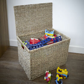 Lidded Seagrass Toy Storage Box - Large