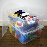 2 x Plastic Toy Storage Boxes