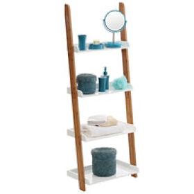 Gloss White & Bamboo Ladder Shelf