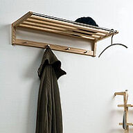 Wooden Coat Rack & Shelf
