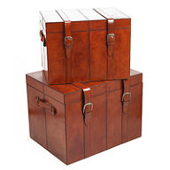 Set of 2 Leather Storage Trunks