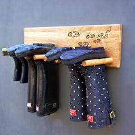 Handmade Solid Oak Welly Rack - Muddy Boots