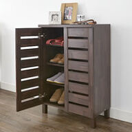 Slatted Shoe Storage Cabinet - Mahogany Effect