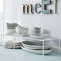 Extendable Kitchen Cupboard Shelf - White