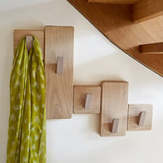 Handmade Under Stairs Solid Oak Coat Rack