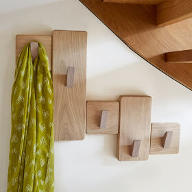 Handmade Under Stairs Solid Oak Coat Rack