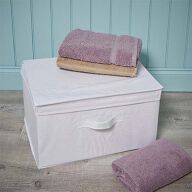Foldable Storage Box with Lid - White