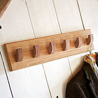 Solid Oak 6 Hook Coat Rack