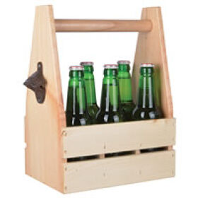 Wooden Bottle Carrier with Opener