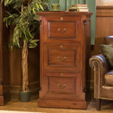 Three Drawer Mahogany Filing Cabinet - La Roque