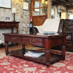 Solid Mahogany Coffee Table With Drawers - La Roque