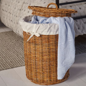 Round Rattan Basket with Lid - Medium