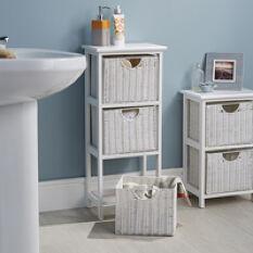 White Wood & Wicker Style Bathroom Drawer Unit - 3 Drawer