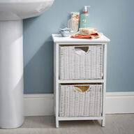White Wood & Wicker Style Bathroom Drawer Unit - 2 Drawer