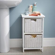 White Wood & Wicker Style Bathroom Drawer Unit - 2 Drawer