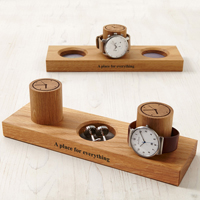 Solid Oak Watch Stand & Cufflink Tray