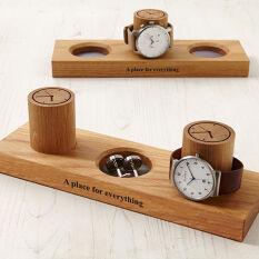 Solid Oak Watch Stand & Cufflink Tray