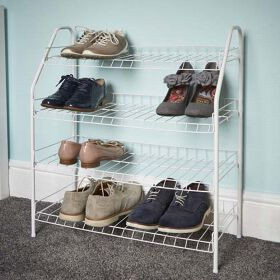 4 Tier Shoe Rack - White