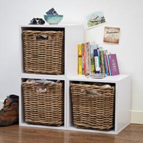 Handbridge Storage Cube with Rattan Basket - Set 3