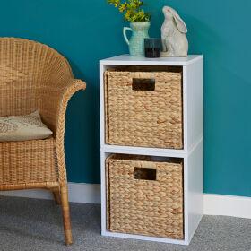 Handbridge Storage Cube with Water Hyacinth Basket - Set A