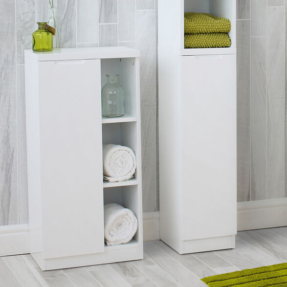 High Gloss Compact Bathroom Cabinet Grey Store