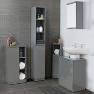 High Gloss Compact Bathroom- Tallboy