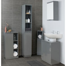 Corner Cabinet High Gloss Compact Bathroom White Store